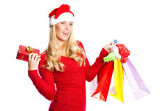 Christmas shopping santa girl Stock Photo