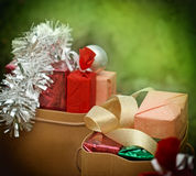 Christmas shopping (shopping bags). Christmas shopping-Christmas presents (Cristmas gifts royalty free stock images