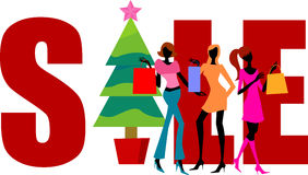 Christmas shopping,shopping girls and sale word. Illustration Stock Photo