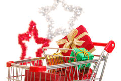 Christmas shopping side view Royalty Free Stock Image