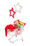 Christmas shopping side view Stock Photography