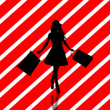 Christmas Shopping Silhouette Illustration Stock Photo