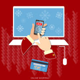 Christmas shopping snowflakes e-commerce buy now concept Royalty Free Stock Photography