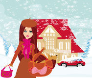 Christmas shopping on a snowy day. Illustration Royalty Free Stock Image