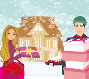 Christmas shopping on a snowy day. Illustration Royalty Free Stock Photography