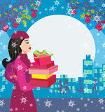 Christmas shopping on a snowy night. Vector Illustration Royalty Free Stock Images