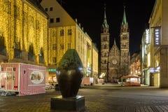 Christmas shopping street-Nuremberg,Germany-night Royalty Free Stock Image