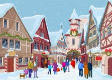 Christmas shopping street vector illustration