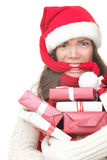 Christmas shopping stress. Christmas shopping woman stress. Young shopper holding christmas gifts / presents stressed, frustrated and angry. Funny image of Asian royalty free stock photos