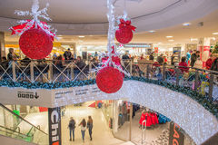 Christmas shopping in Sweden. Norrkoping, Sweden - December 13, 2014: Christmas shopping in a mall in Norrkoping. Last year shopping before Christmas broke Stock Photo