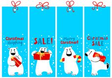 Christmas shopping tags with polar beer. Labels with cute flat a Stock Images