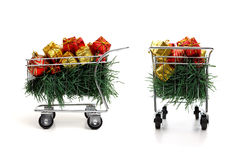 Christmas shopping time - Side and rear view Royalty Free Stock Image