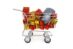 Christmas shopping time - Side view stock image