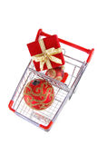 Christmas shopping top view Stock Photography