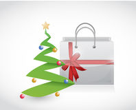 Christmas shopping and tree illustration design Royalty Free Stock Image