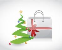 Christmas shopping and tree illustration design Royalty Free Stock Image