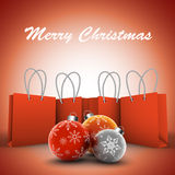 Christmas Shopping. Vector illustration of Christmas bags with balls vector illustration