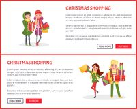 Christmas Shopping Web Pages, People with Presents vector illustration