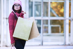 Christmas shopping in winter Royalty Free Stock Photo