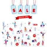 Christmas shopping, winter holiday sales or Black Friday flat background. People, gifts, boxes and stockings. Royalty Free Stock Photography