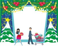 Christmas shopping - winter sale card. Vector Illustration royalty free illustration