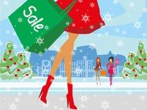 Christmas shopping - winter sale card Royalty Free Stock Photos
