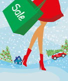 Christmas shopping - winter sale card Royalty Free Stock Image