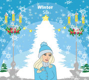 Christmas shopping - winter sale card. Vector Illustration Stock Illustration