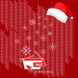 Christmas shopping winter sale snowflakes on red shopping basket Royalty Free Stock Images