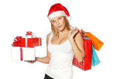 Christmas shopping woman Stock Photos
