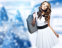 Christmas shopping woman Stock Photography