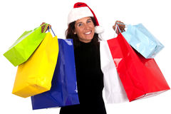 Christmas Shopping. Woman getting her Christmas shopping done stock photography