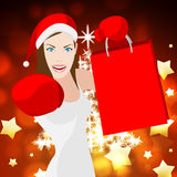 Christmas Shopping Woman Means Retail Sales And Festive Stock Image