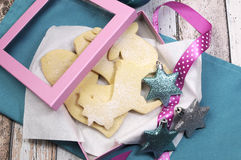 Christmas shortbread cookie biscuits gift box Stock Photos