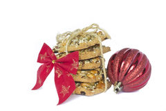 Christmas shortbread cookies. With a bow and a ball Royalty Free Stock Photo