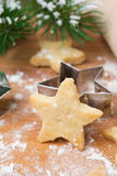 Christmas shortbread cookies in the shape of stars on board Stock Image