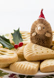 Christmas Shortbread, Fruit Mince Pie with Santa. Royalty Free Stock Image