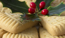 Christmas Shortbread and Holly. Royalty Free Stock Image