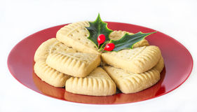 Christmas Shortbread and Holly. Royalty Free Stock Photography