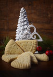 Christmas shortbread on rustic background. Royalty Free Stock Photography
