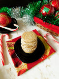 Christmas shortcrust cookies. Surrounded by christmas decorations on a white background stock images