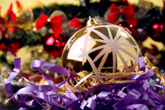 Christmas shot, golden ornament ... Royalty Free Stock Photos