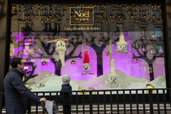 The Christmas showcase in department store Le Bon Marche. Stock Photos