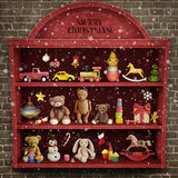 Christmas showcase. Holiday greeting card for Christmas or New Year with  showcase of toys . Computer graphics Stock Photo