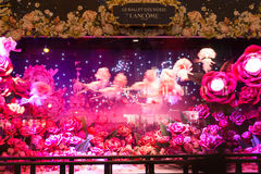 The Christmas showcase in shopping center Galeries Lafayette. Royalty Free Stock Images