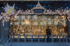 The Christmas showcase in shopping center Printemps. Stock Photography