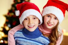 Christmas siblings Royalty Free Stock Images