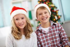 Christmas siblings Stock Photo