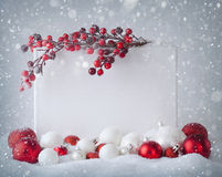 Christmas sign. Blank sign  with christmas decorations Royalty Free Stock Images