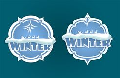 Christmas sign of blue hue with text. Christmas emblem of blue and white hue with snow, Santa Claus on deer and winter text, set Royalty Free Stock Photos